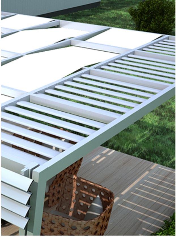 Πέργκολες μικτής κατασκευής (πανί - σταθερά πτερύγια)