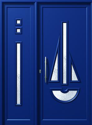 Πόρτα εισόδου αλουμινίου E563-E878,μπλε χρώμα-κουφώματα αλουμινίου Fenestral