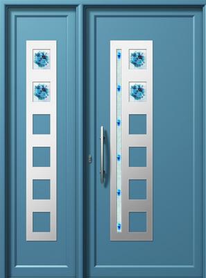 Πόρτα εισόδου με inox (ΚΩΔ.I315 FU-1-I303 FU),συστήματα αλουμινίου Europa
