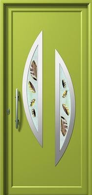Πόρτα εισόδου με inox πράσινη (ΚΩΔ.I342 FU),αλουμινίου πόρτες Fenestral