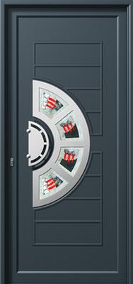 Πόρτα εισόδου με inox (ΚΩΔ.I346 FU),πόρτες εισόδου αλουμινίου