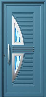 Γαλάζια πόρτα εισόδου,πιστοποιημένος κατασκευαστής στα αλουμίνια Fenestral.
