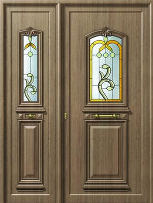 Παραδοσιακή πόρτα εισόδου καφέ,θερμοδιακοπτώμενα κουφώματα αλουμινίου