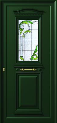 Πόρτα εισόδου παραδοσιακή green,παραδοσιακά κουφώματα αλουμινίου Fenestral