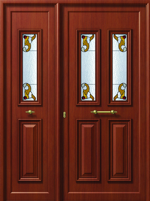 Παραδοσιακή πόρτα καφέ χρώμα,θερμομονωτικά κουφώματα αλουμινίου Europa