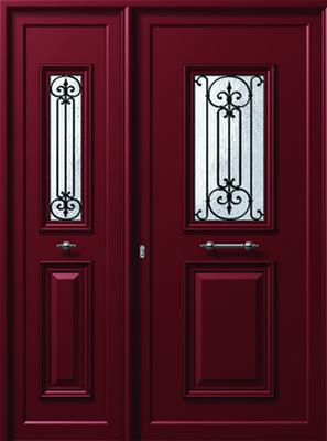 Πόρτα εισόδου παραδοσιακή μπορντό,αντικατάσταση κουφωμάτων Fenestral