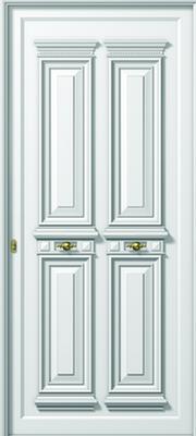 Πόρτα εισόδου παραδοσιακή άσπρη με σιδεριά,κουφώματα αλουμινίου Europa