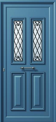 Πόρτα εισόδου παραδοσιακή γαλάζια,αντικατάσταση κουφωμάτων Fenestral